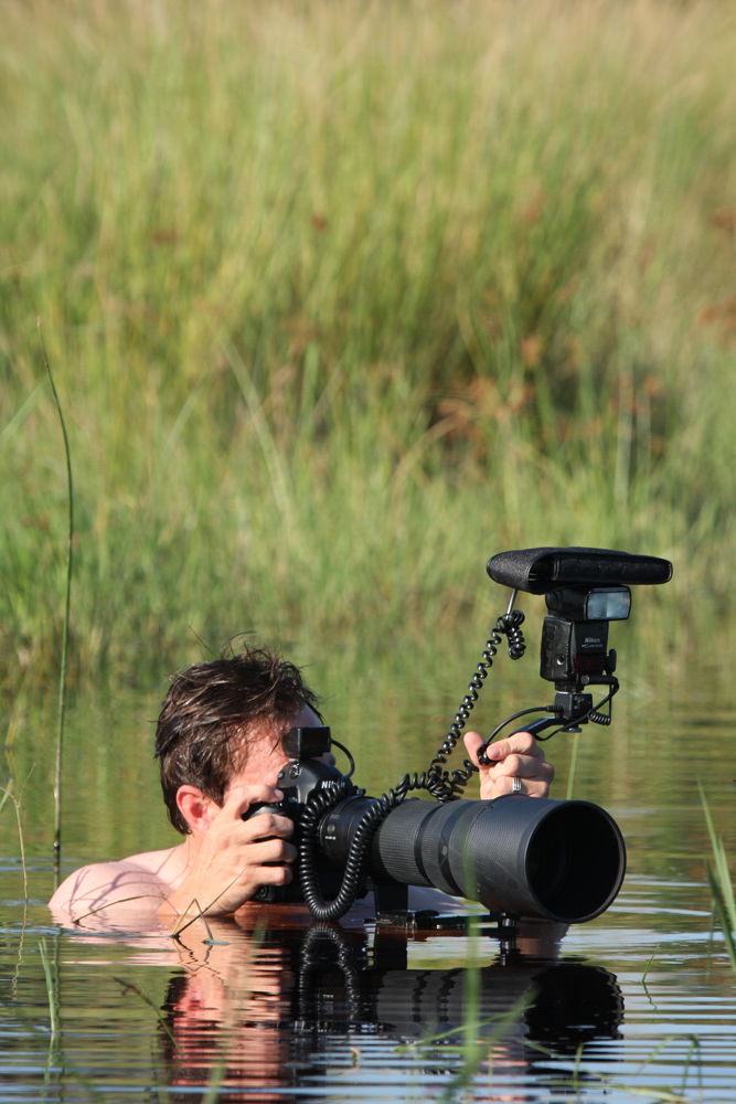 Sitting in the Okavango Delta of Botswana