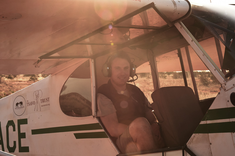 About to take off to photograph elephants from the air in Kenya