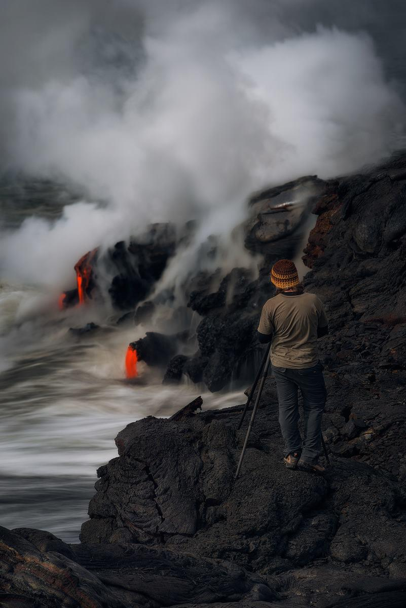 Soaking in the sights and sounds of a lava ocean entry.